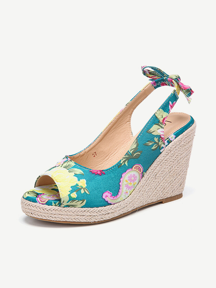 LOSTISY Women Printing Decor Comfy Wearable Peep Toe Casual Espadrilles Wedges Sandals