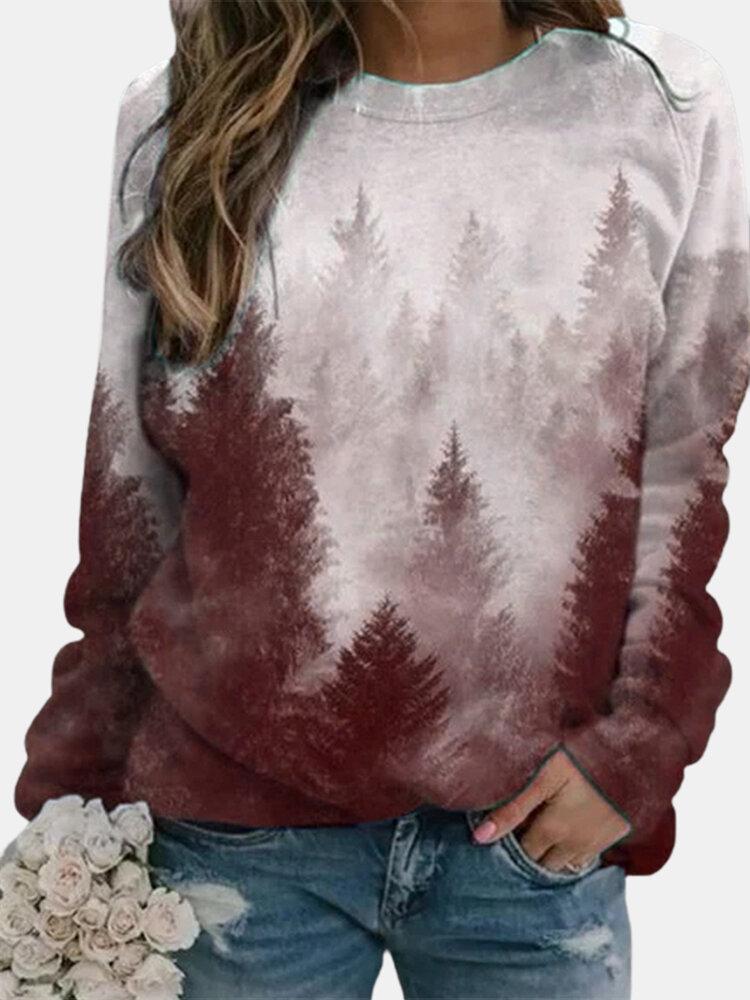Landscape Prints Long Sleeves O-neck Casual Sweatshirt For Women