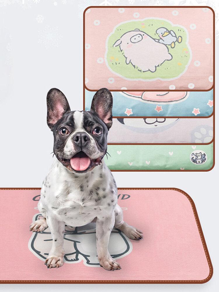 Cartoon Printing Ice Silk Pet Sleeping Pad Removable And Washable Waterproof Cat Dog Blanket Summer
