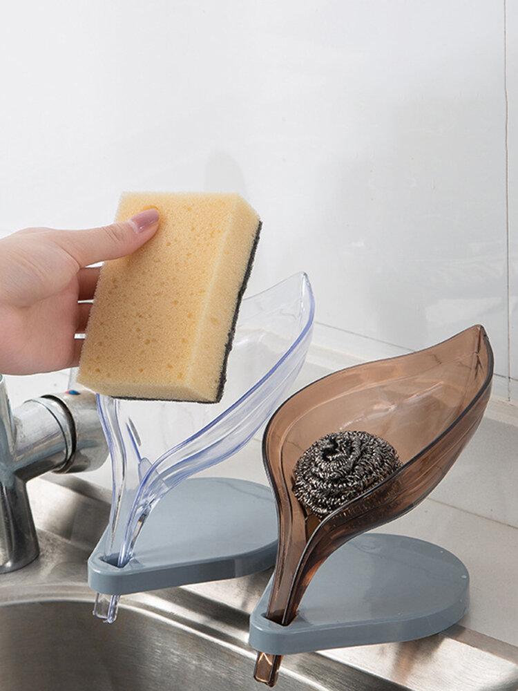 Creative Leaf Soap Box Free Punch Hole Sucker Soap Box Rack Bathroom Drain Laundry Soap Box Rack
