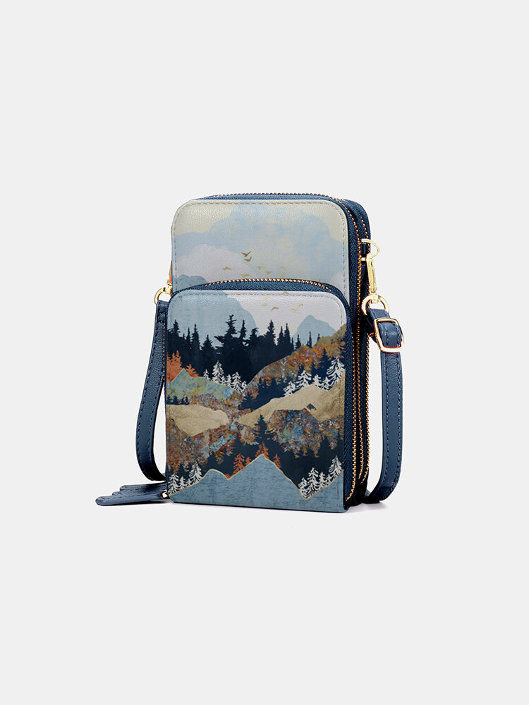 Women Mountain Treetop Print Bag Phone Bag Crossbody Bag