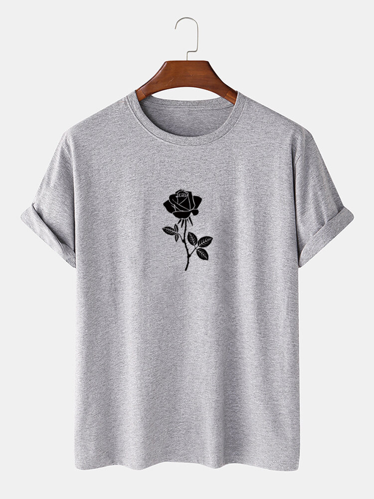 Mens 100% Cotton Rose Pattern Casual Round Neck Short Sleeve T-Shirt