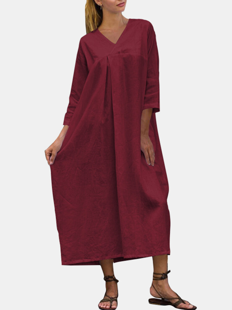 Solid Color V-neck Long Sleeves Casual Dress For Women