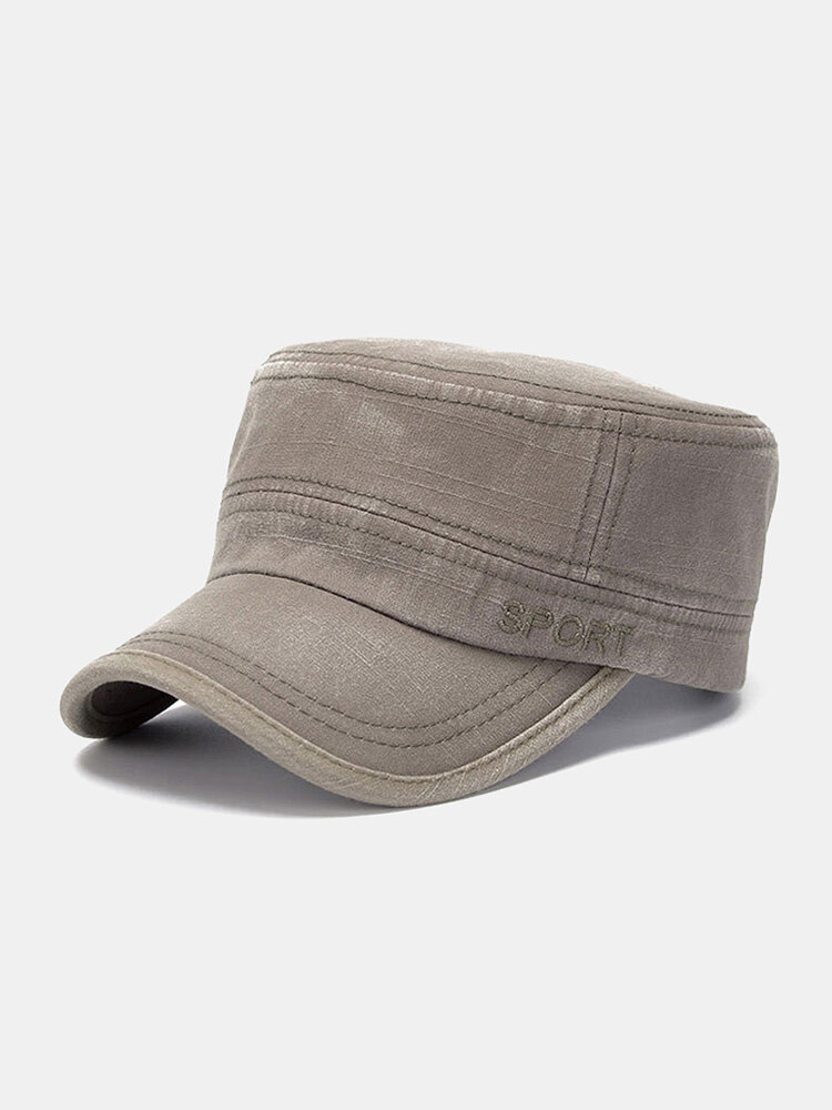 Men Washed Cotton Solid Color Letter Embroidery Casual Sunshade Military Hat Flat Cap