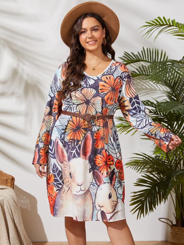 Flower Rabbit Print V-neck Pocket Long Sleeve Vintage Midi Plus Size Dress