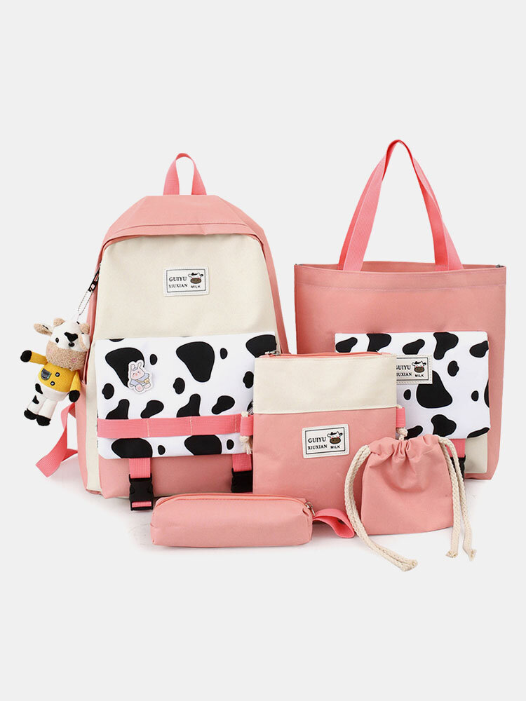 4 PCS Canvas Preppy Cow Pattern Multifunction Combination Bag Tote Backpack Crossbody Clutch Wallet