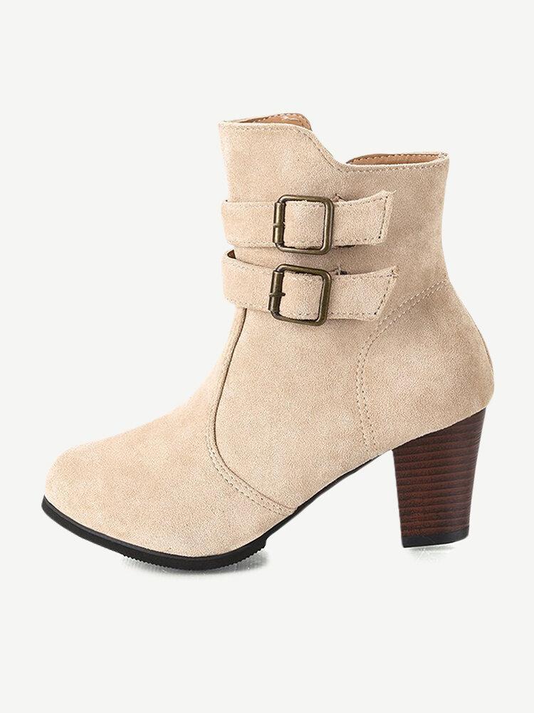 Plus Size Women Buckle High Heel Zipper Short Boots