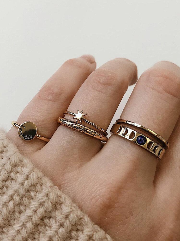 Vintage Metal Geometric Rings Set Round Star Hollow Rhinestone Knuckle Rings Trendy Jewelry