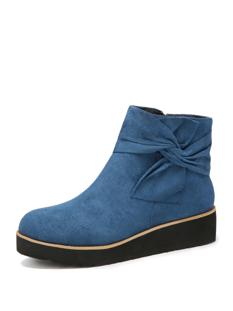 Women Suede Bow knot Decor Zipper Wedges Heel Ankle Boots