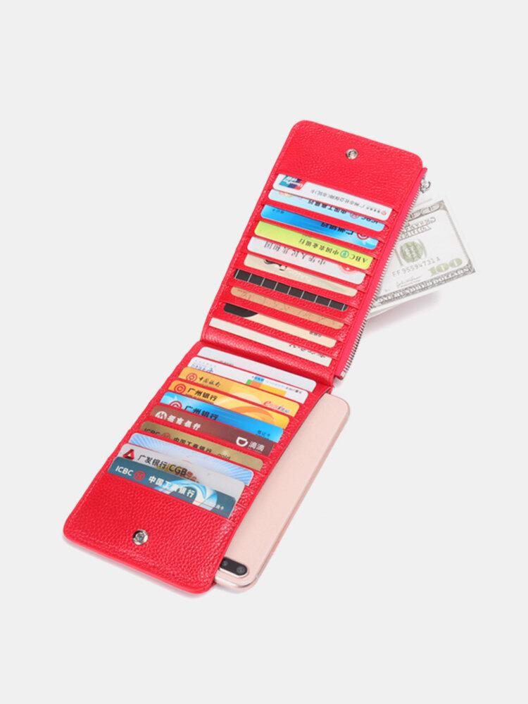 Women RFID Long Zipper Wallet Multicard Slots Card Holders Genuine Leather Purse Wallet
