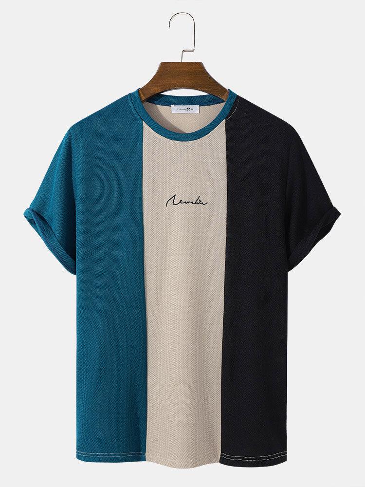 メンズブロックストライプパッチワーク刺繍ニット半袖プレッピーTシャツ