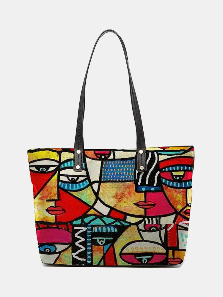 Frauen PU Leder wasserdicht Colorful Figur Muster gedruckt Schultertasche Handtasche Tote