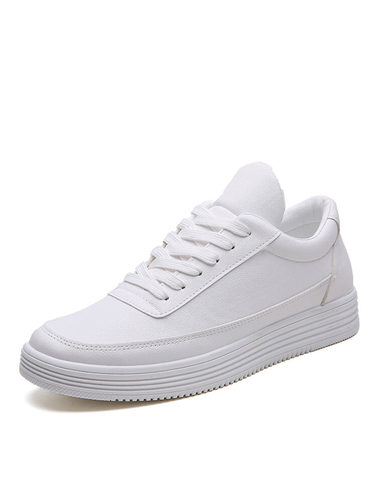Men Lace-up Pure Color Round Toe Hard Wearing White Sneakers