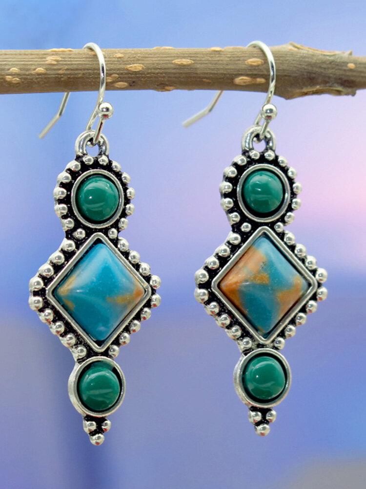 Vintage Rhombus Women Earrings Inlaid Turquoise Pendant Earrings
