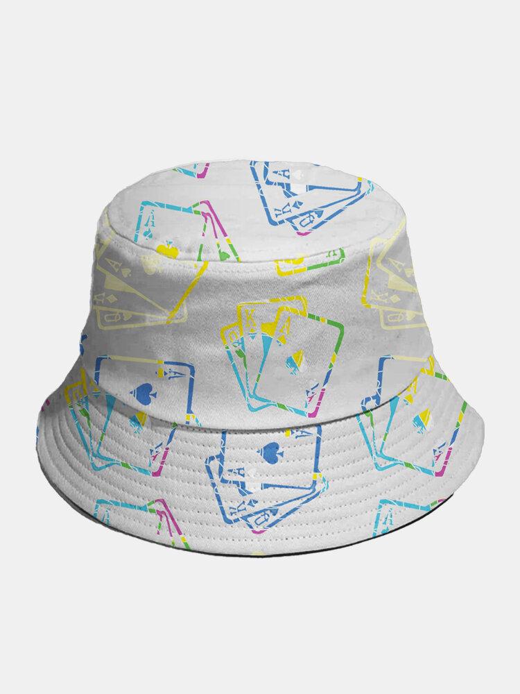 Cappello intero in cotone unisex Poker Modello Cappello da pescatore moda in tinta unita con stampa