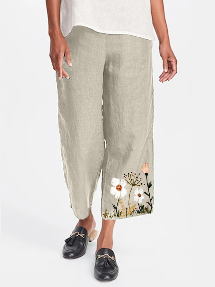 Flower Embroidery Casual Pants For Women