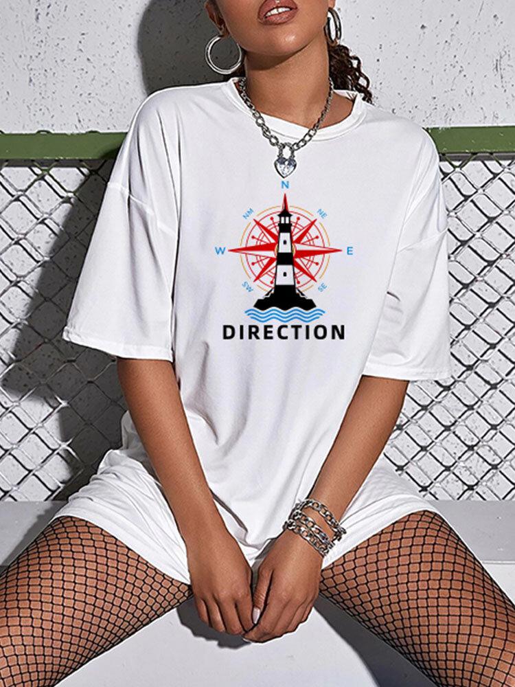 プリントOネック半袖PlusサイズルーズTシャツ