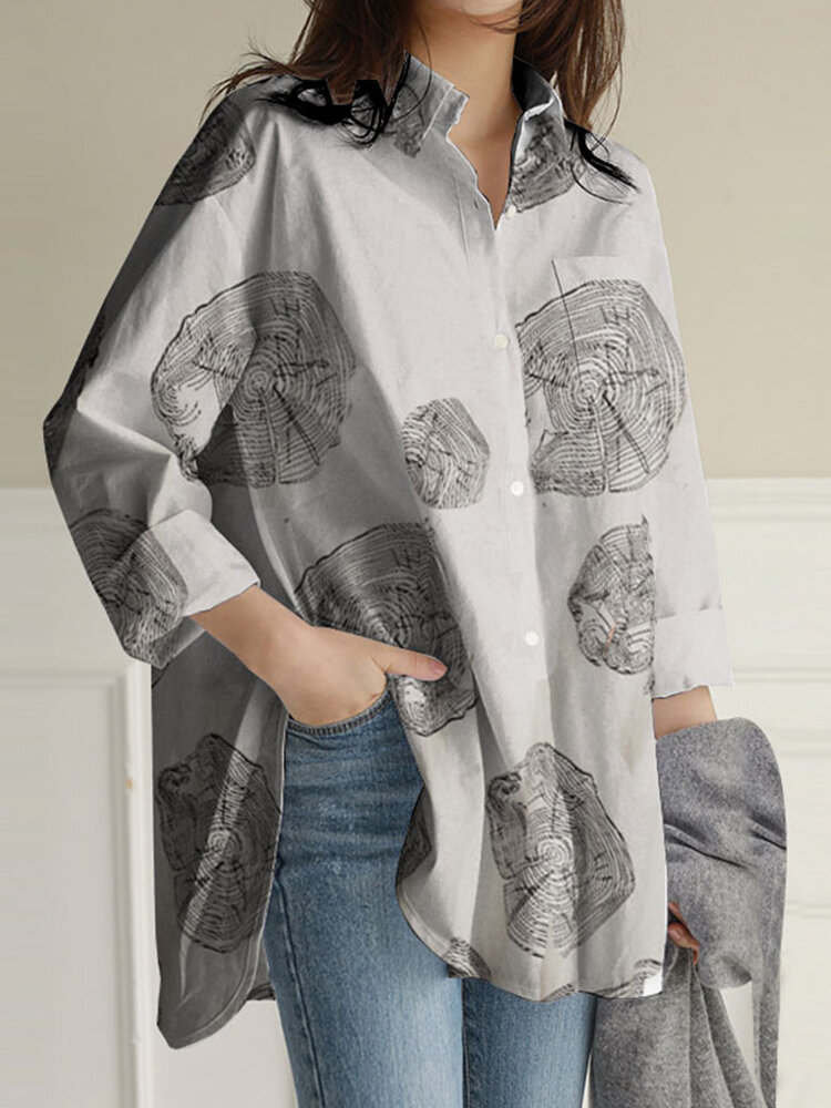 Geometry Print Long Sleeves Casual Loose Blouse With Pockets