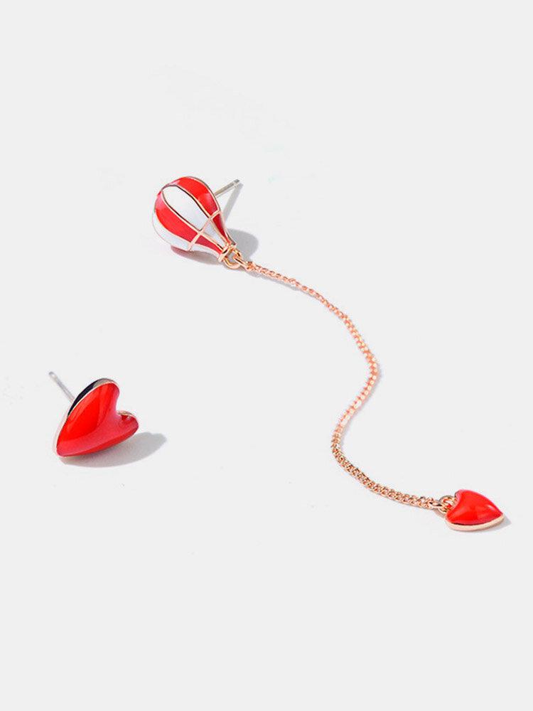 925 Sterling Silver Fire Balloon Dangle Earrings Fashion Jewelry Heart Asymmetric Earrings for Her
