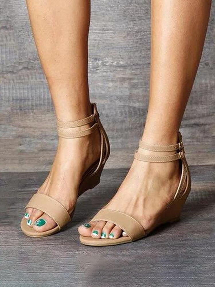 Women Large Size Comfy Wearable Ankle Buckle Strap Casual Wedges Sandals