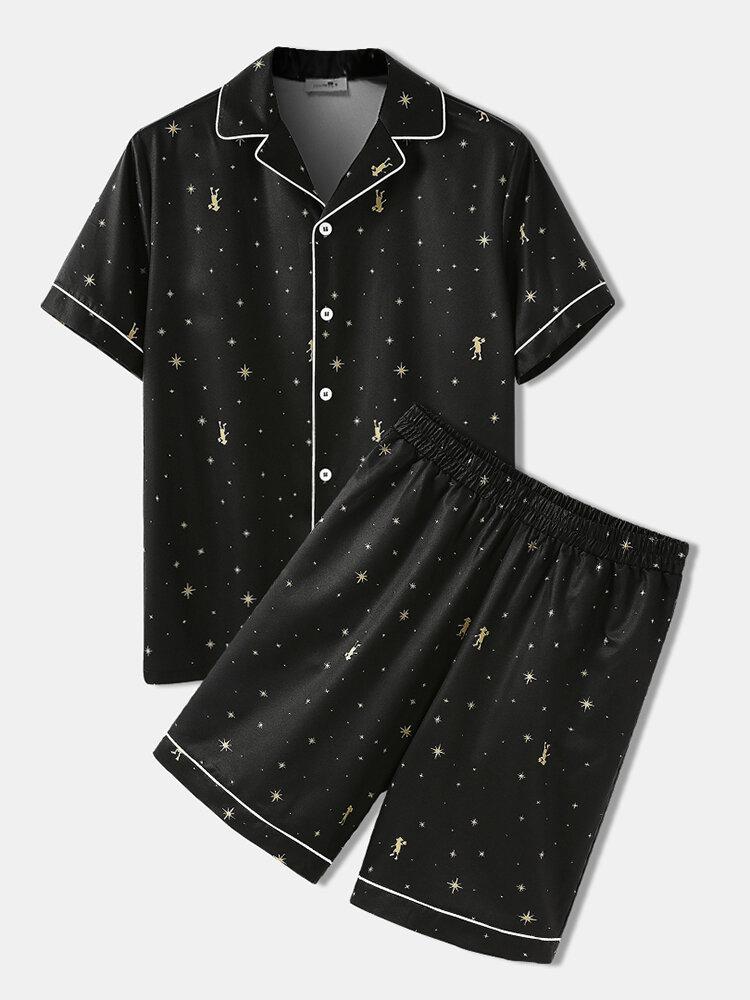 Star Pattern Cozy Sleepwear Set Two Pieces Summer Soft Lapel Collar Pajamas Set in Black