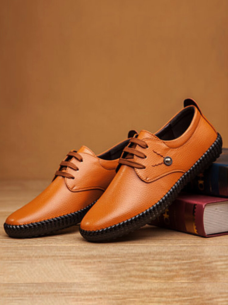 Men Lace-up Hard Wearing Non Slip Casual Microfiber Leather Loafers Shoes