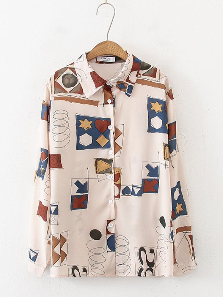 Women Print Button Long Sleeve Lapel Collar Casual Blouse