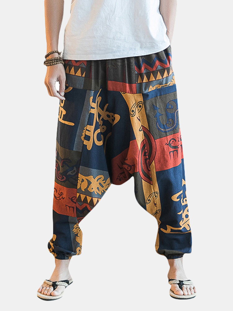 13936093df ChArmkpR Mens Casual Baggy 100% Cotton Harem Pants Ethnic Style Printed  Loose Wide Leg Pants Online-NewChic