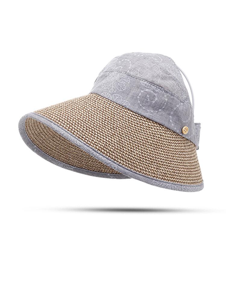 Women Summer Hats With Suncreen Wide Brim Visor Beach Cap  Sun Straw Hat