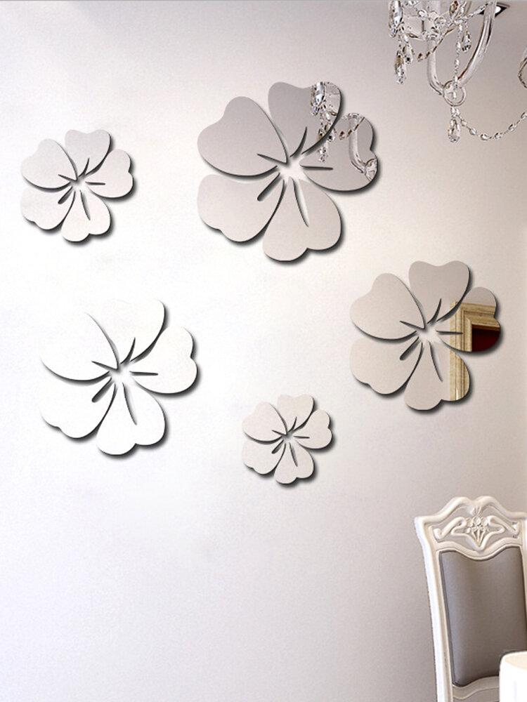 5 uds flor Patrón pegatina de espejo decoración del hogar calcomanía 3D arte DIY calcomanía mural para decoración de sala de estar cartel autoadhesivo de PVC