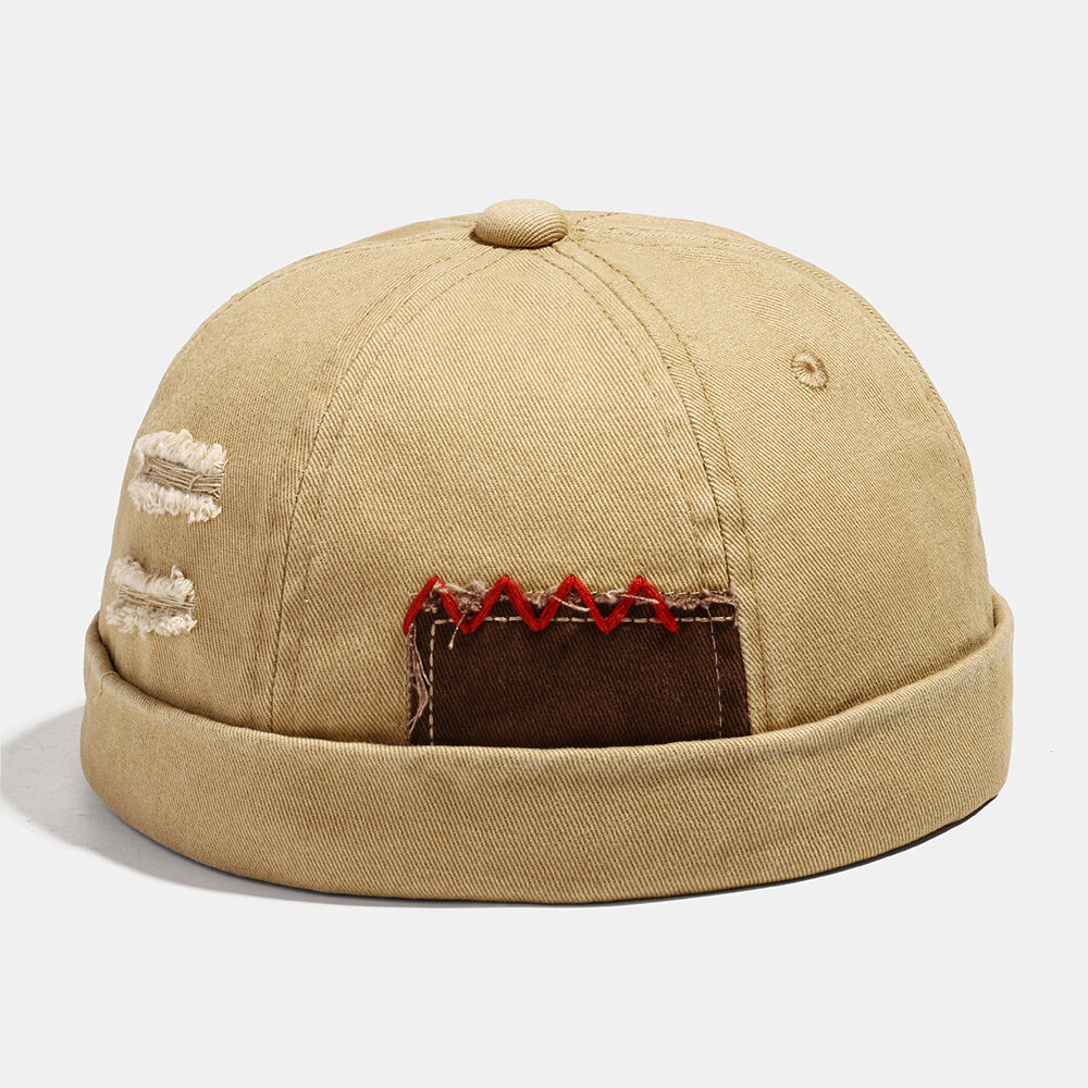 COLLROWN Men & Women Washed Cotton Stitching Brimless Hats Adjustable Skull Caps