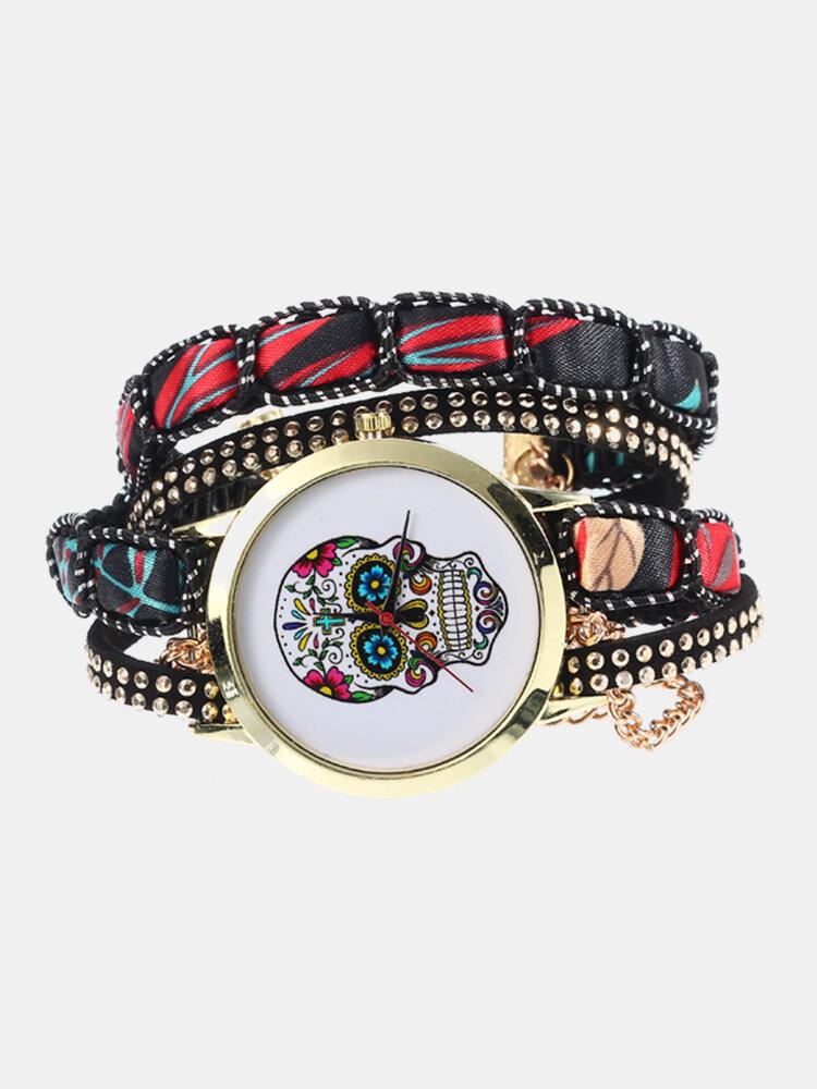 Ethnique Colorful Poignet Multicouche Motif Crâne Watch Bracelet Dame Numérique Watch