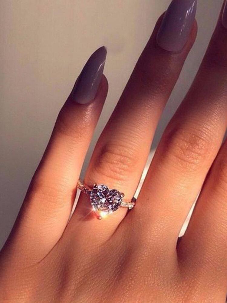 Elegant Zircon Heart-shaped Rhinestone Ring Engagement Party Ring Jewelry