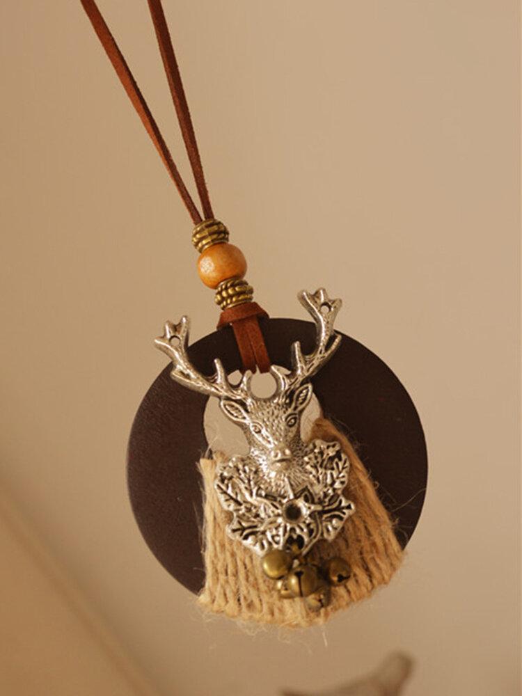 Vintage Animal-Shape Women Necklace Christmas Elk Bells Long Necklace Sweater Chain