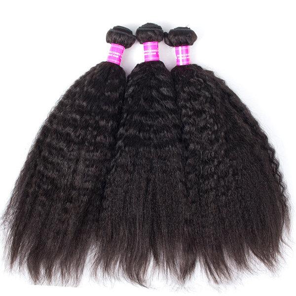 1 Bundle Kinky Straight Yaki 100% бразильские человеческие волосы для волос