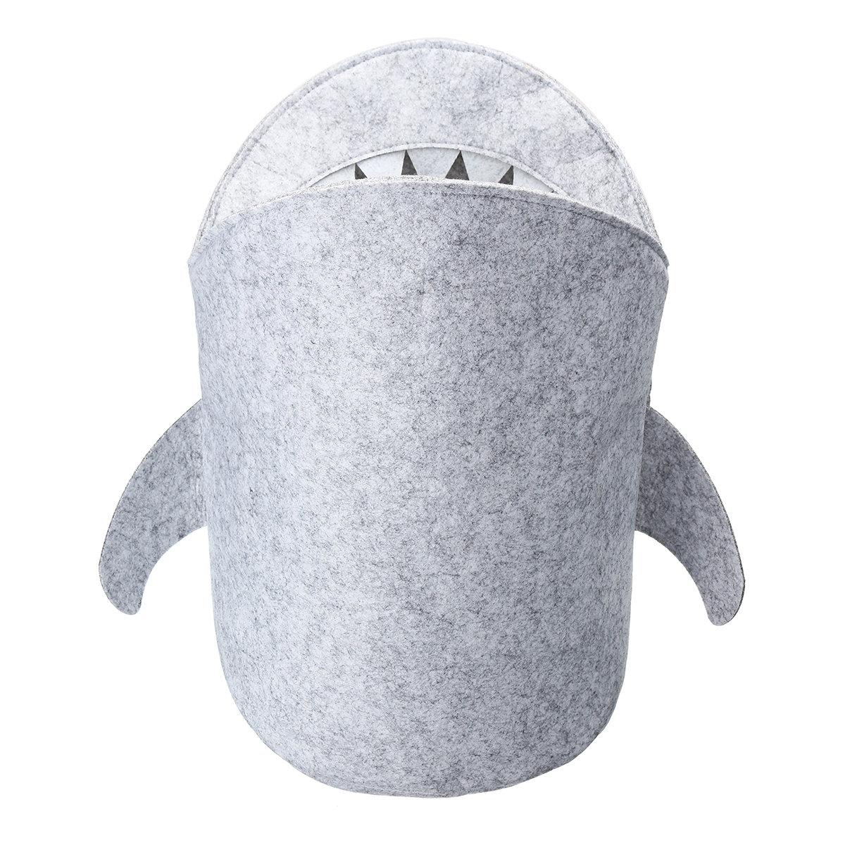 Kids Cartoon Folding Felt Shark Laundry Hamper Toy Basket Storage Box Bin Grey