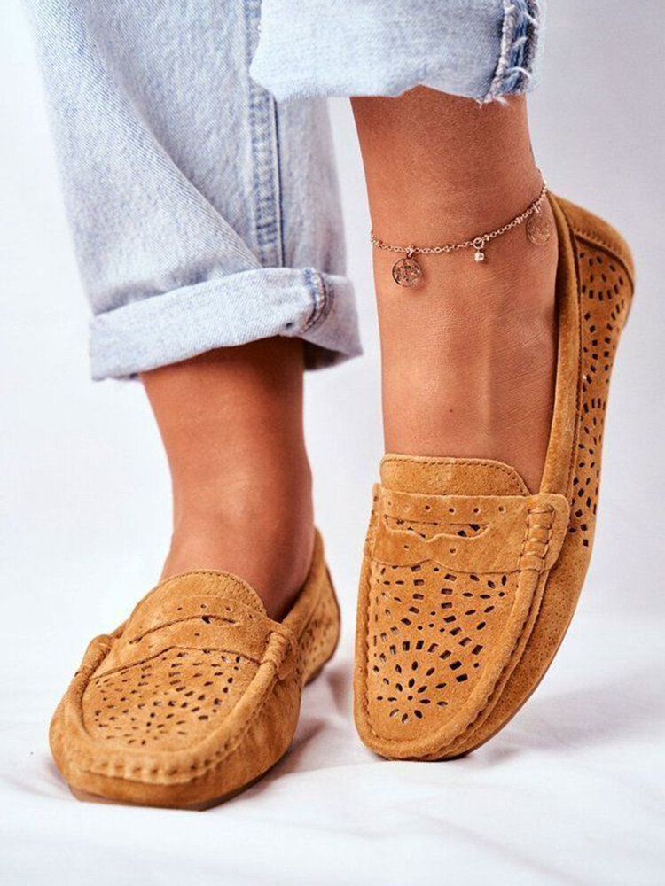 Women Large Size Breathable Hollow Out Comfortable Flat Loafers Shoes