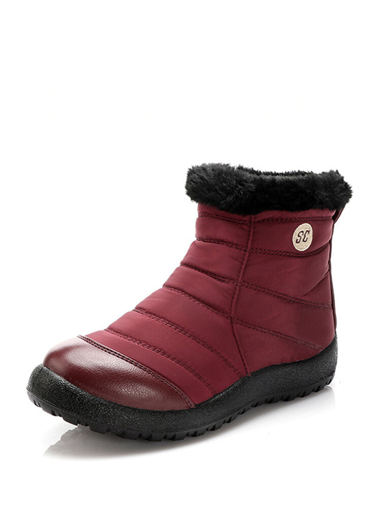 Women Snow Boots Letter Pattern Stitching  Casual Waterproof Warm Short Boots