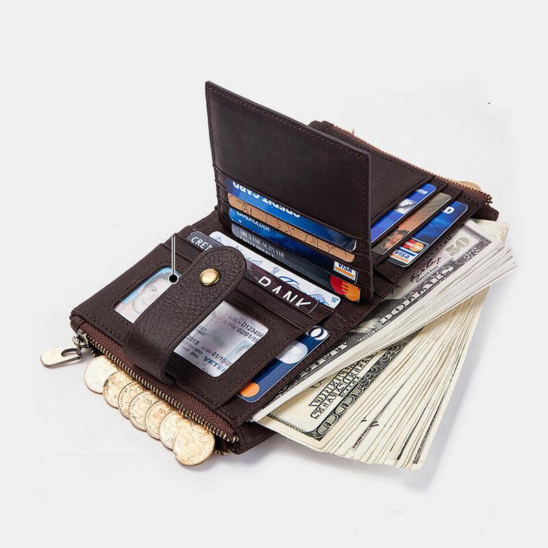 Women Genuine Leather RFID Anti-magnetic 13 Card Slots Wallet Purse