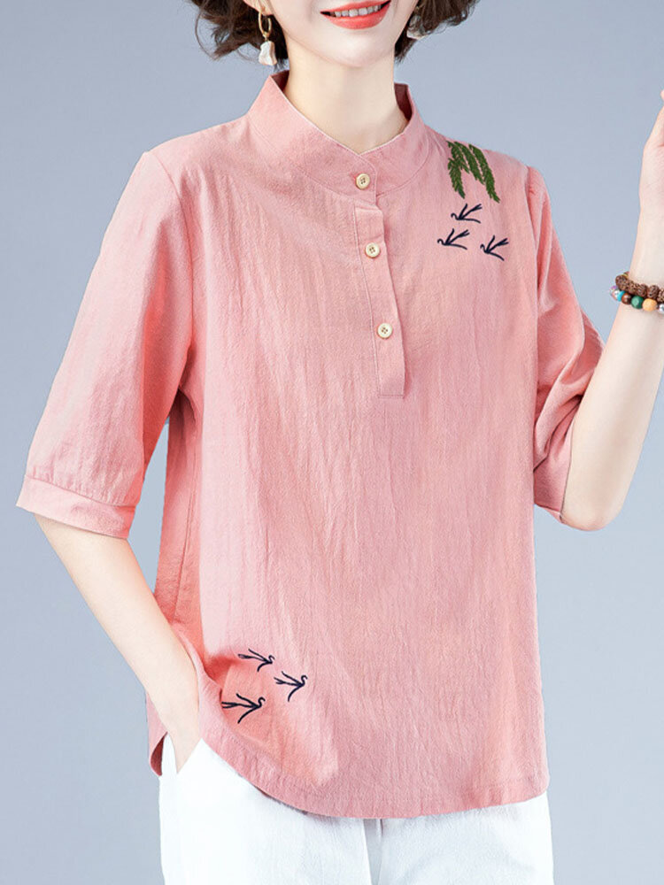 Chinese Style Embroidery Button Front Plus Size Blouse