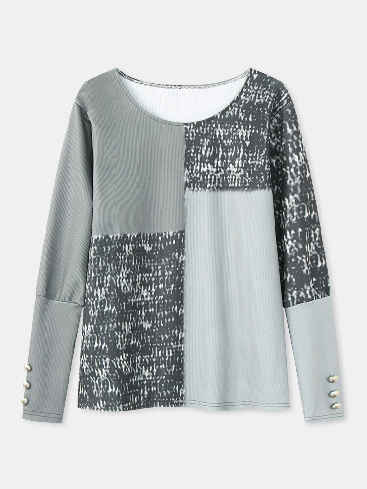 Women Contrast Color Patchwork O-neck Long Sleeve Casual Blouse