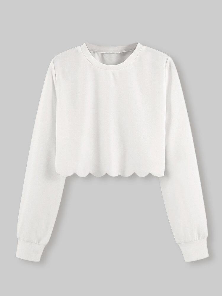 T-shirt da donna con top corto casual a maniche lunghe con bordo smerlato tinta unita