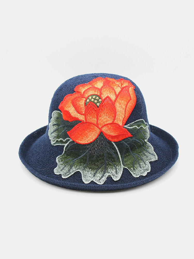 Ladies Curling Cap Travel Shopping Sun Hat Dome Embroidered Beach Hat Breathable