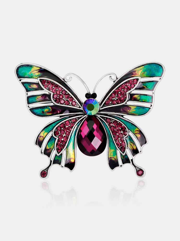 Classic Colorful Butterfly Brooch Dazzling Crystal Rhinestone Pin Corsage Scarf Clothing Accessories