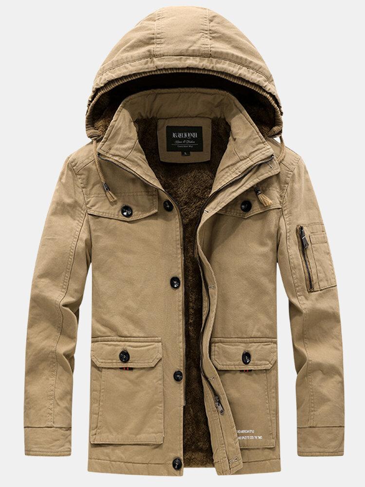 Mens Winter Thicken Fleece Lined Multi-Pocket Outdoor Casual Cotton Hooded Parkas
