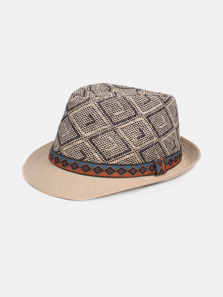 Mens Vintage Lattice Jazz Cap Bucket Hat Beach Cap Travel Breathable Sun Cap Straw Hat