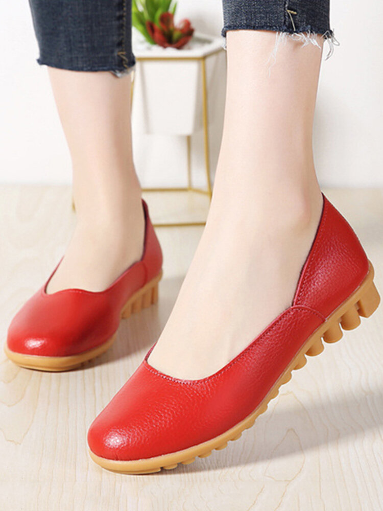 Women Casual Soft Leather Solid Color Ballet Flat Shoes