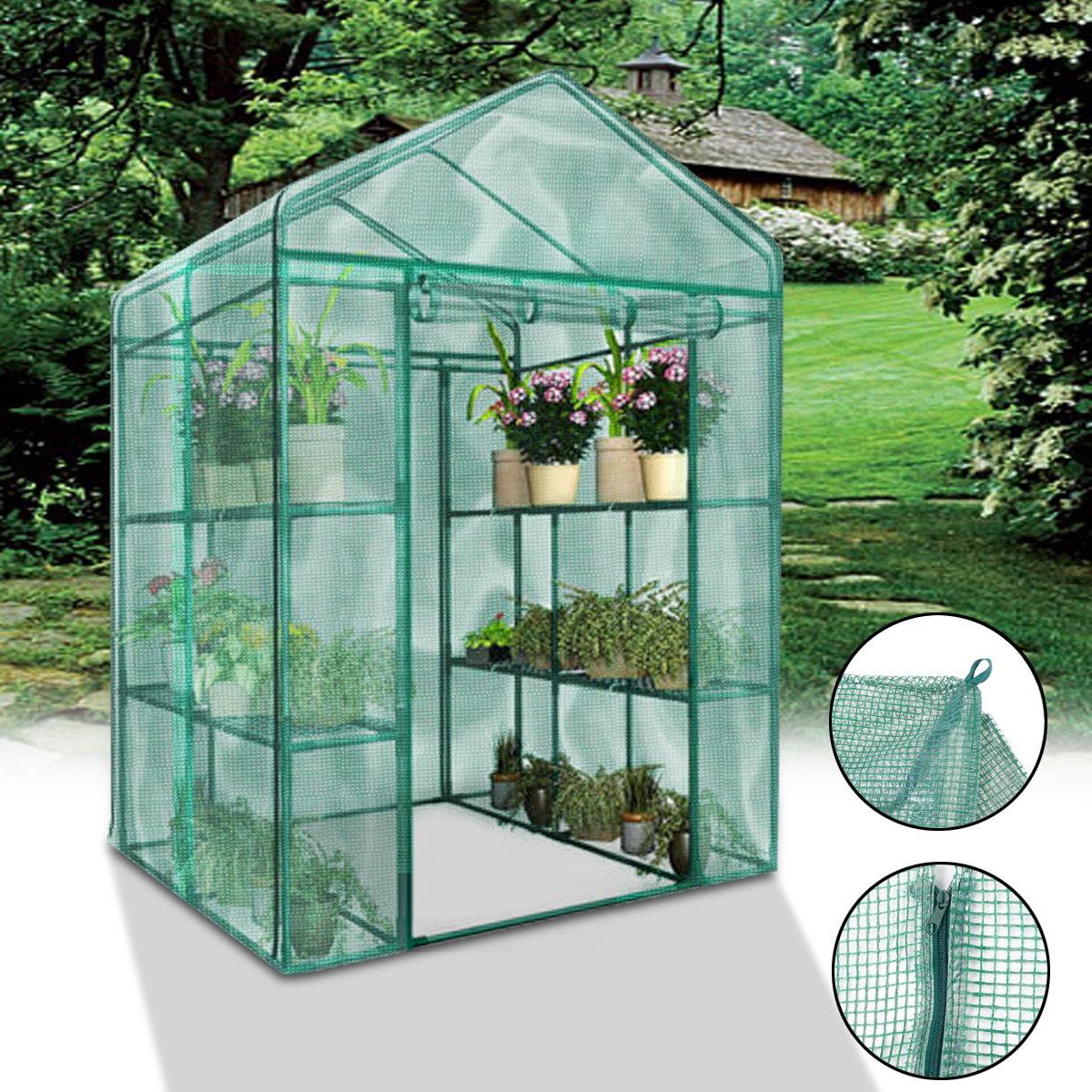Garden Greenhouse Walk-In Green Hot Plant House Armazém Armazém PE Cover Apex Roof