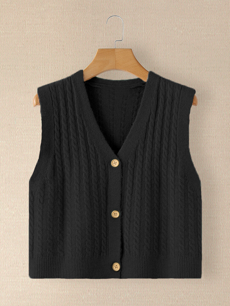 Solid Color V-neck Button Knit Sleeveless Sweater