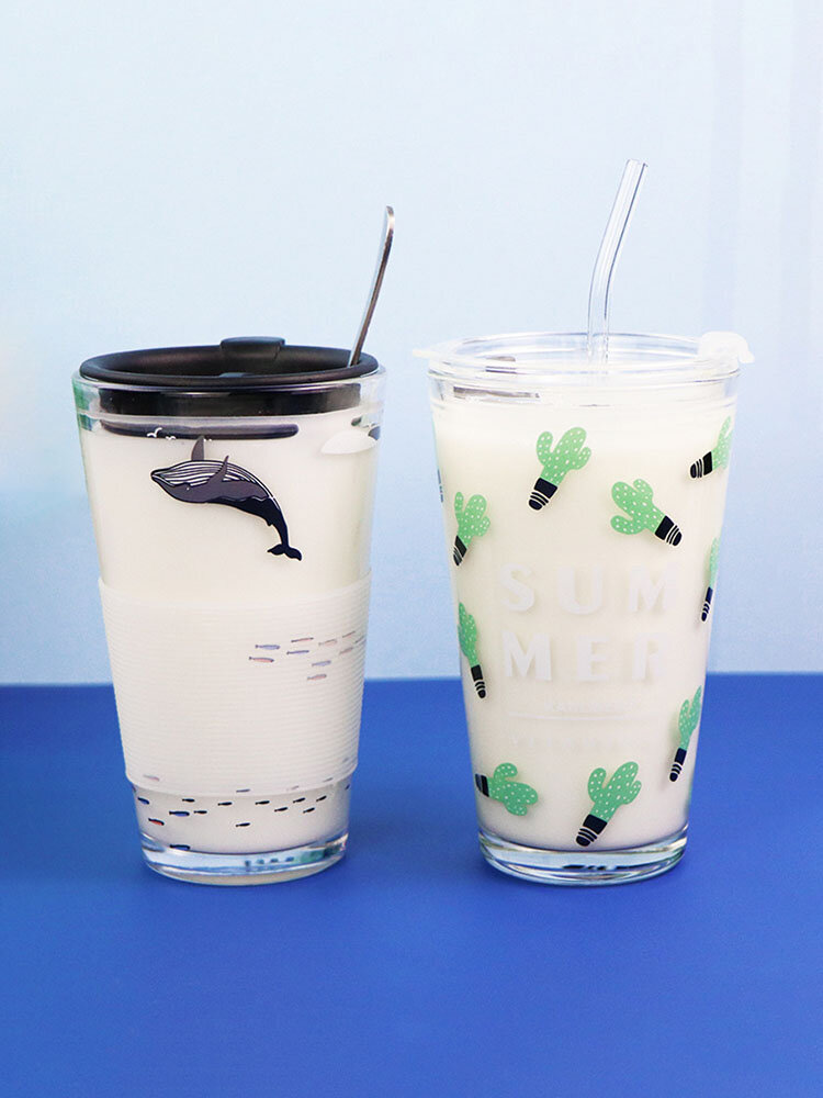 1PC 450ML Whale Plant Pattern Home Outdoor Double-use Straw Lid Bottle Cup Glasses With Measuring Scale Water Cup
